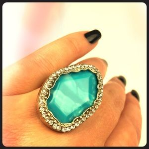 Turquoise Bling Cocktail Ring Adjustable Costume
